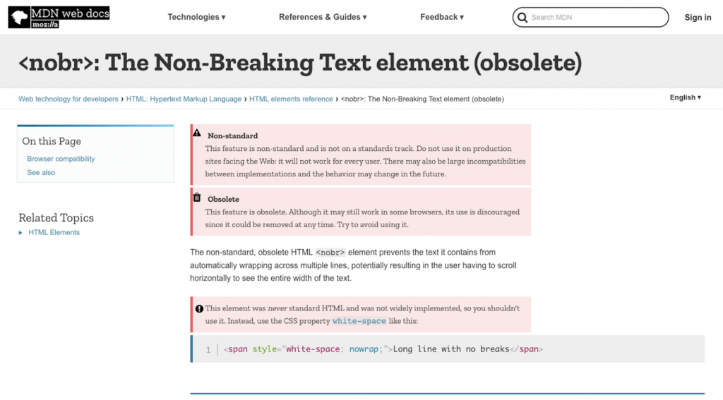 HTML منسوخ شده